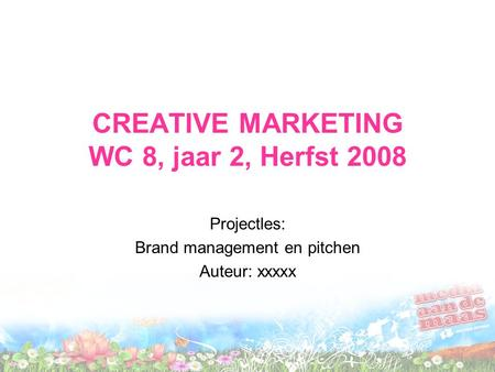 CREATIVE MARKETING WC 8, jaar 2, Herfst 2008 Projectles: Brand management en pitchen Auteur: xxxxx.