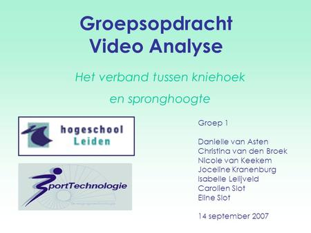 Groepsopdracht Video Analyse