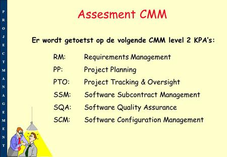 PROJECTMANAGEMENTPROJECTMANAGEMENT Assesment CMM RM:Requirements Management PP: Project Planning PTO: Project Tracking & Oversight SSM:Software Subcontract.
