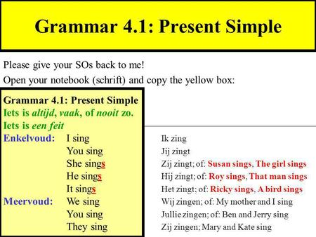 Grammar 4.1: Present Simple Please give your SOs back to me! Open your notebook (schrift) and copy the yellow box: Grammar 4.1: Present Simple Iets is.