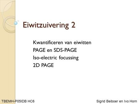 Eiwitzuivering 2 Kwantificeren van eiwitten PAGE en SDS-PAGE Iso-electric focussing 2D PAGE Sigrid Beiboer en Ivo Horn TBEMH-P05IDB HC6.