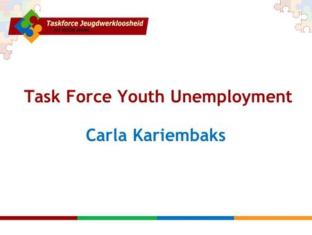 Task Force Youth Unemployment Carla Kariembaks. Action speaks louder than words.