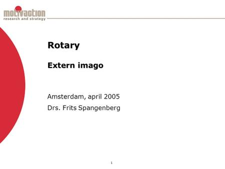 1 Amsterdam, april 2005 Drs. Frits Spangenberg Rotary Extern imago.