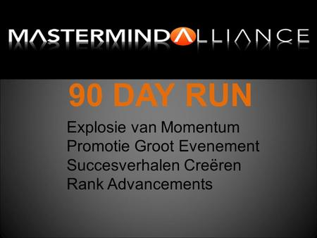 90 DAY RUN Explosie van Momentum Promotie Groot Evenement Succesverhalen Creëren Rank Advancements.