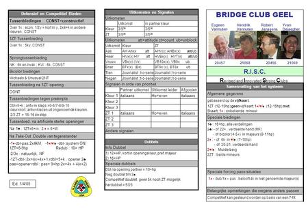 BRIDGE CLUB GEEL R.I.S.C. Revised and Innovated Strong Clubs