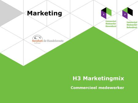 Marketing H3 Marketingmix Commercieel medewerker.