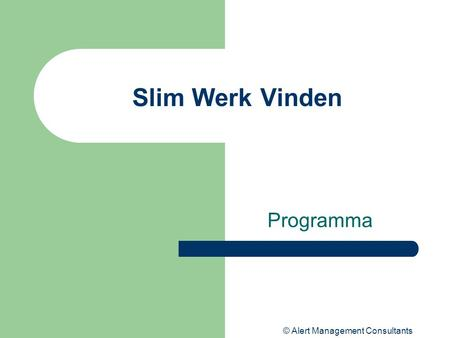 © Alert Management Consultants Slim Werk Vinden Programma.