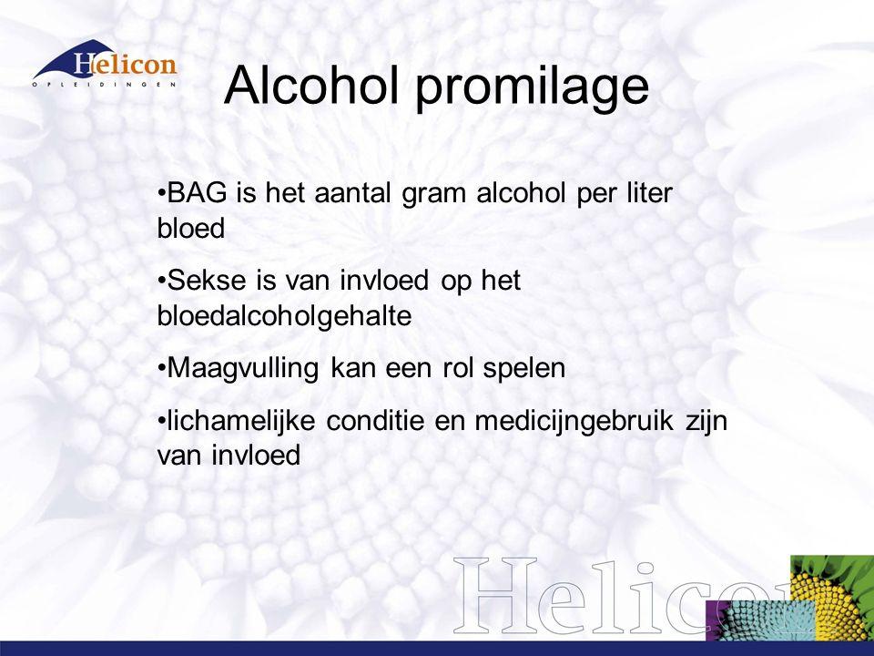 Alcohol promilage Eén standaardglas alcohol bevat 10 gram alcohol en leidt gemiddeld tot een promillage van 0,2 bij mannen en 0,3 bij vrouwen.