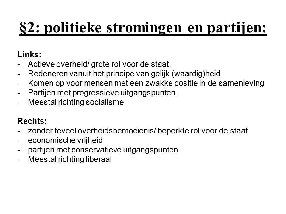 Links- Rechts dimensie sociaal- economisch/ sociale ongelijkheid Politiek Links Communisme Socialisme / Sociaal- democratie Politieke 'Midden' Christendemocratie Politiek Rechts Liberalisme Fascisme
