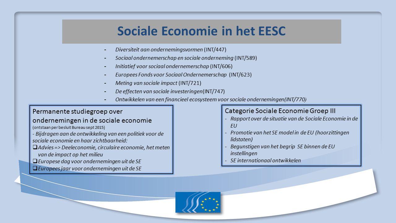 Sociale Economie in de Commissie Groupe d'Experts de la Commission sur l'Entrepreneuriat Social (GECES) Vanaf 2015, periode Bienkowska Vernieuwing van de leden van GECES : Oprichting van 4 werkgroepen: - verbeteren van de toegang tot financiering; - het vergroten van de zichtbaarheid van sociaal ondernemerschap; - verbeteren van de juridische omkadering; - versterken van de externe dimensie.