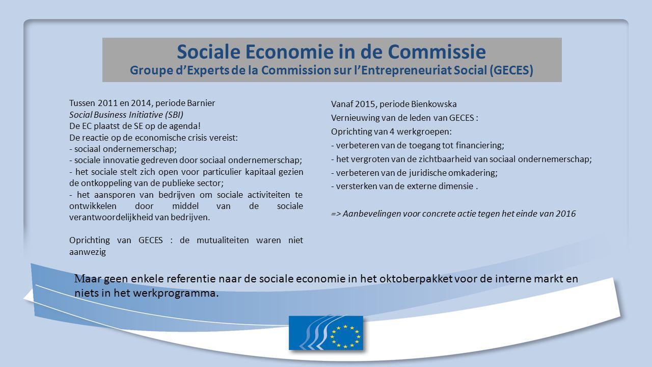 Sociale Economie in het Europees Parlement Een betere opvolging garanderen van de sociale economie in de adviezen van EP commissies en er meer rekening mee houden.