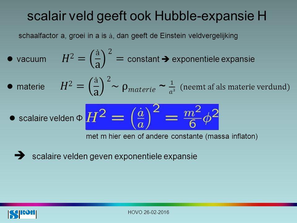 scalair veld geeft ook Hubble-expansie H