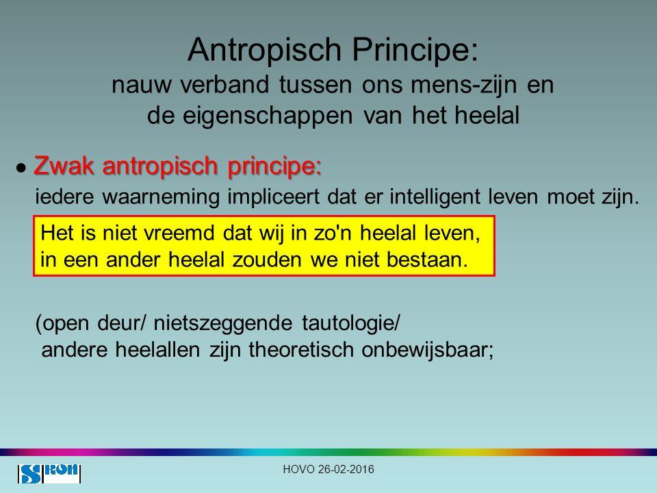 Antropisch Principe: nauw verband tussen ons mens-zijn en de eigenschappen van het heelal