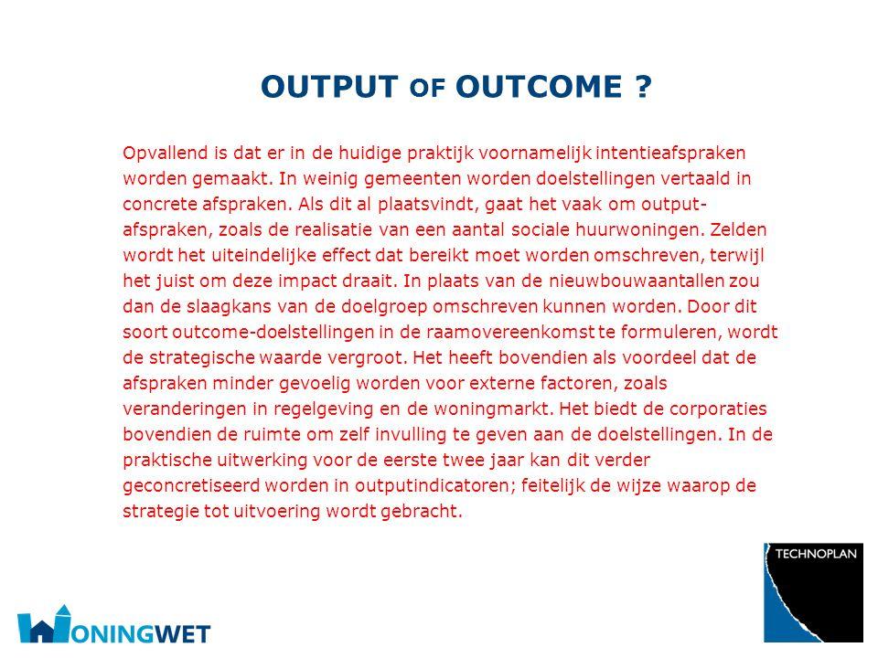 Output of outcome
