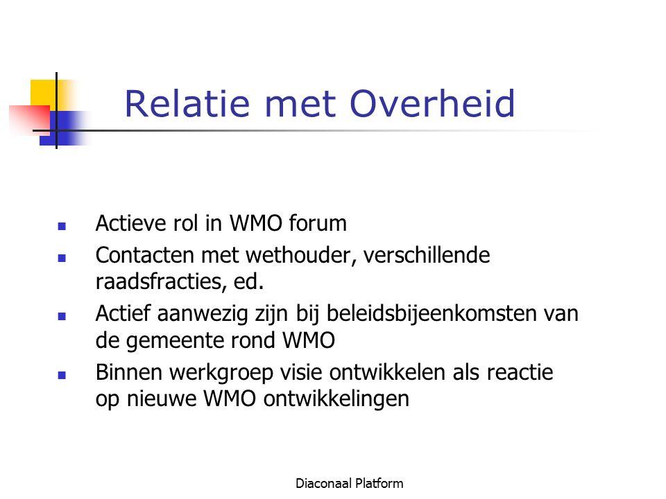 Relatie met Overheid Actieve rol in WMO forum