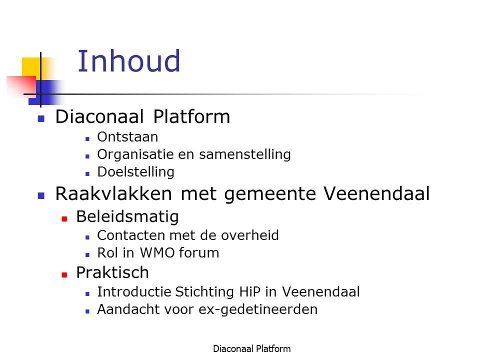 Inhoud Diaconaal Platform Raakvlakken met gemeente Veenendaal