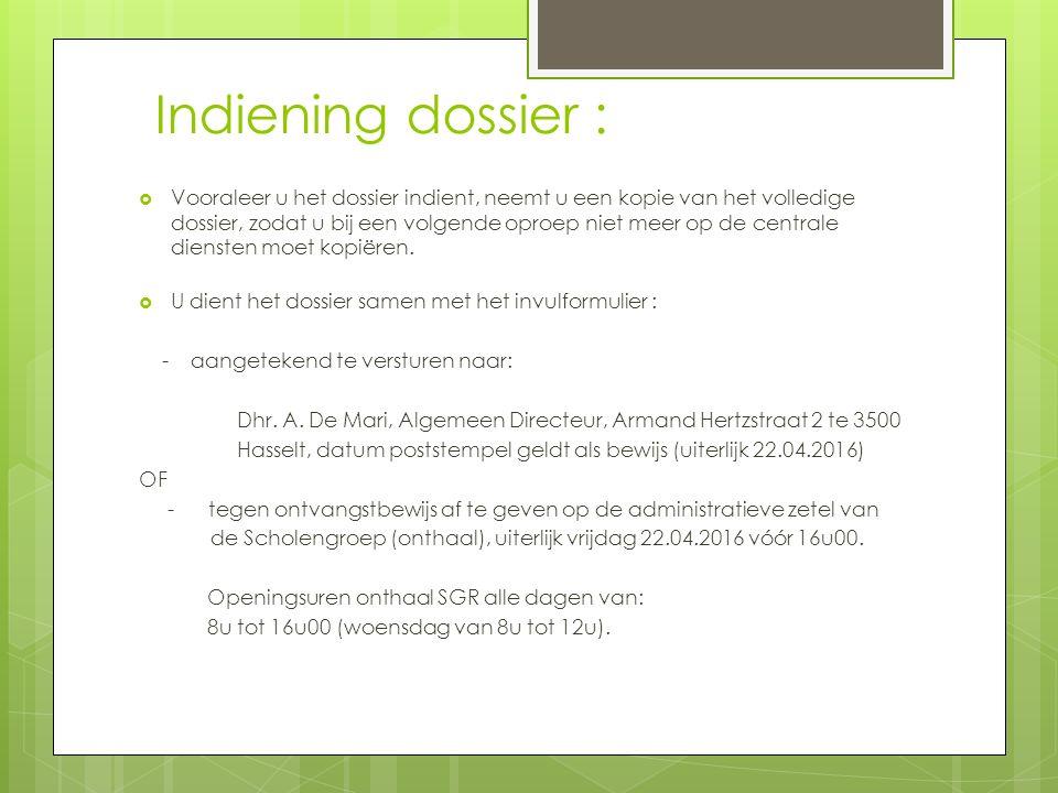 Indiening dossier :