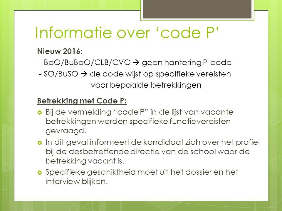 Informatie over 'code P'