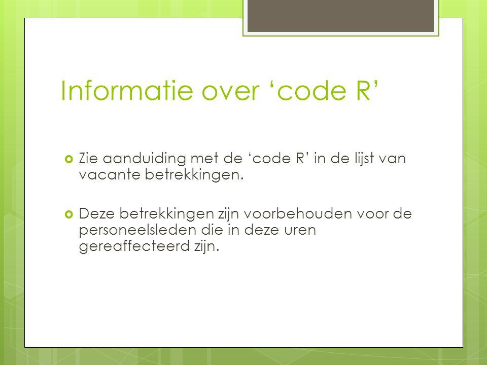 Informatie over 'code R'