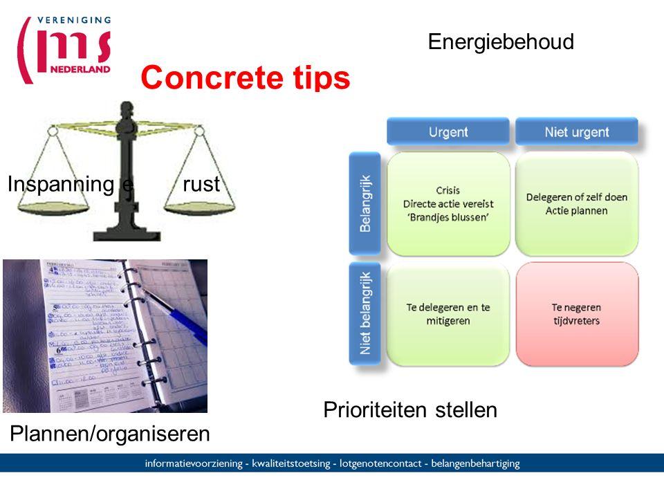 Concrete tips Energiebehoud Inspanning e rust Prioriteiten stellen