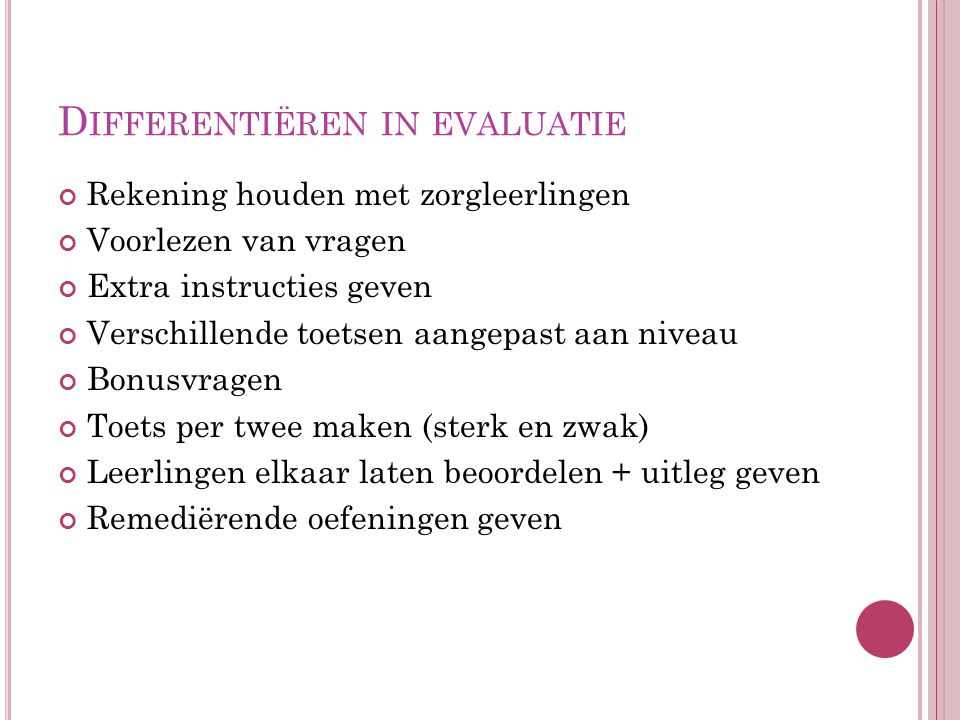 Differentiëren in evaluatie