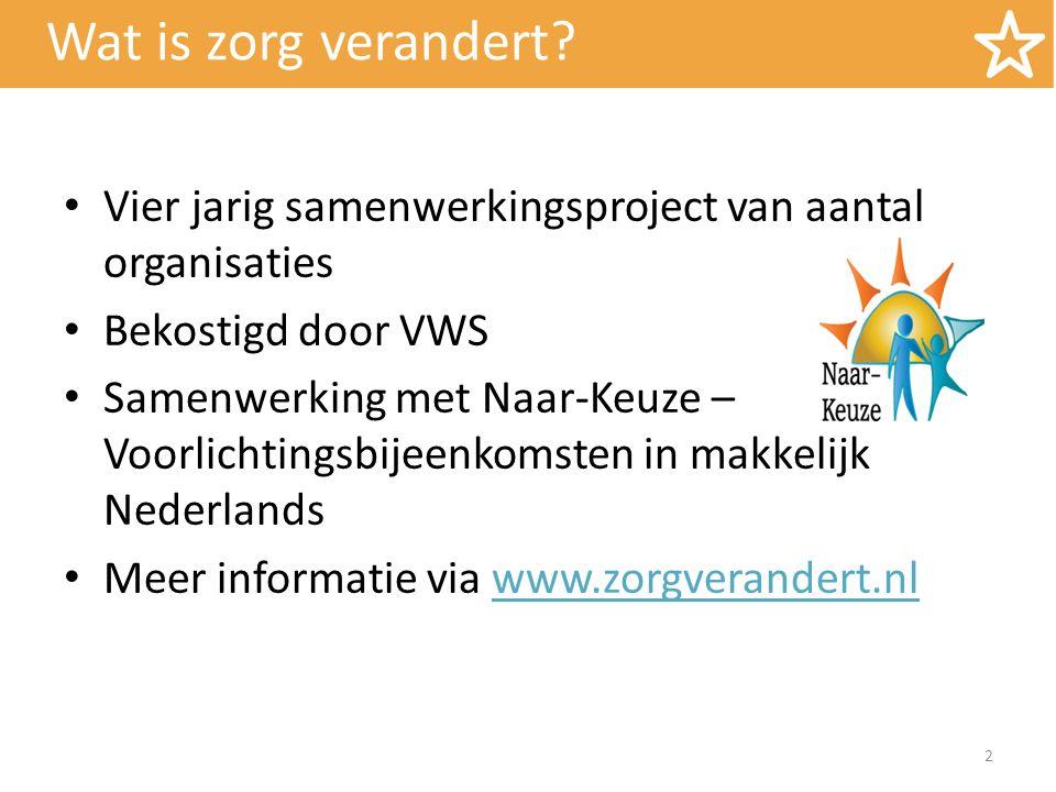 Wat is zorg verandert Vier jarig samenwerkingsproject van aantal organisaties. Bekostigd door VWS.