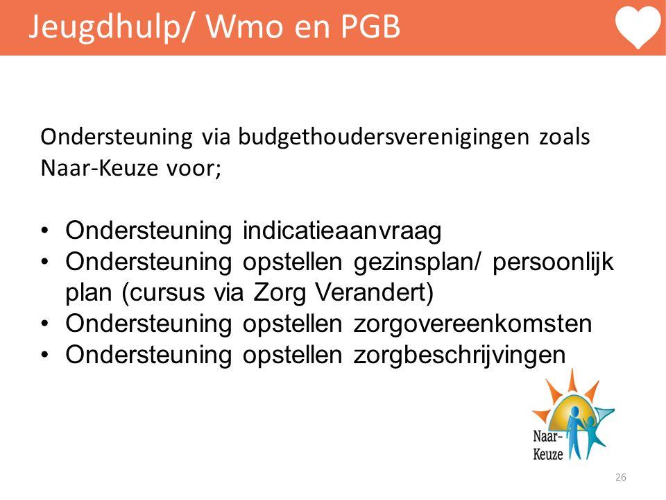 Jeugdhulp/ Wmo en PGB Ondersteuning via budgethoudersverenigingen zoals Naar-Keuze voor; Ondersteuning indicatieaanvraag.