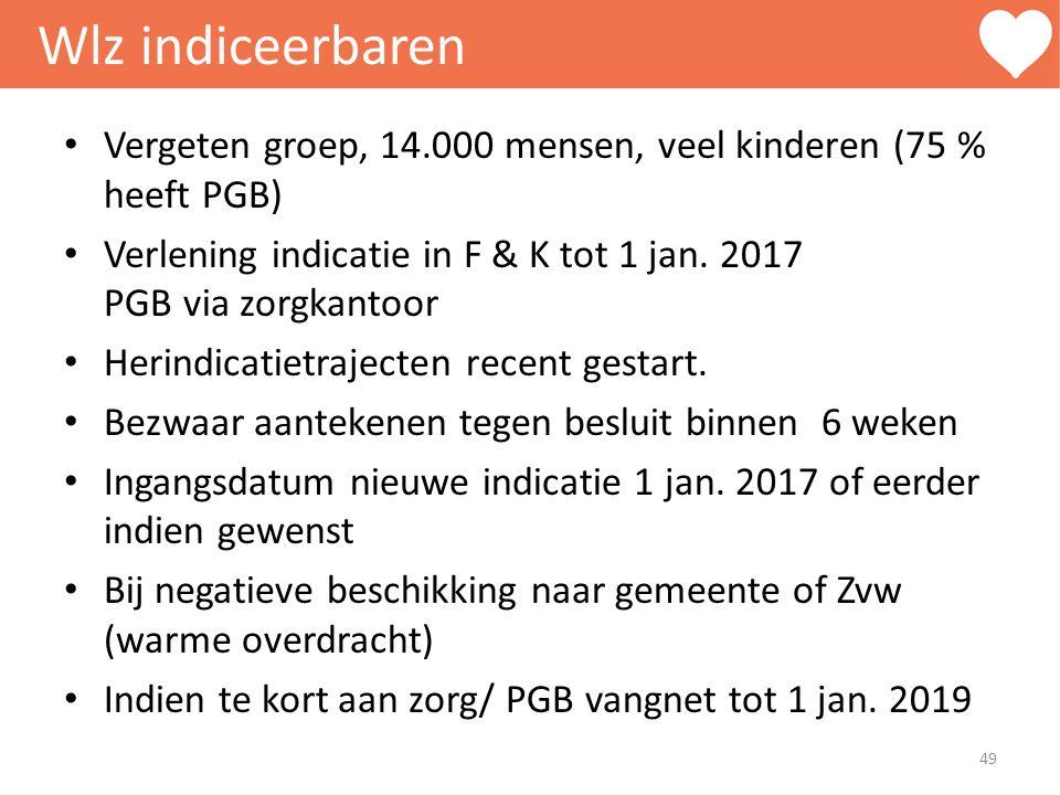 Wlz indiceerbaren Vergeten groep, 14.000 mensen, veel kinderen (75 % heeft PGB) Verlening indicatie in F & K tot 1 jan. 2017 PGB via zorgkantoor.
