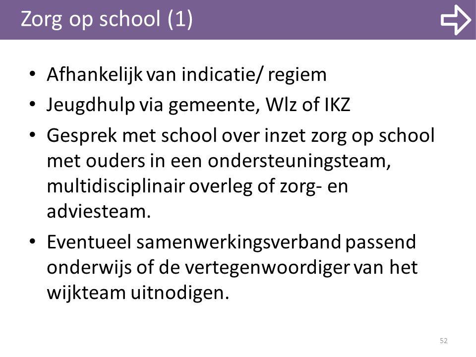 Zorg op school (1) Afhankelijk van indicatie/ regiem