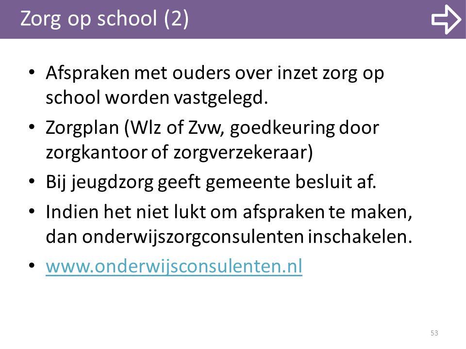 Zorg op school (2) Afspraken met ouders over inzet zorg op school worden vastgelegd.