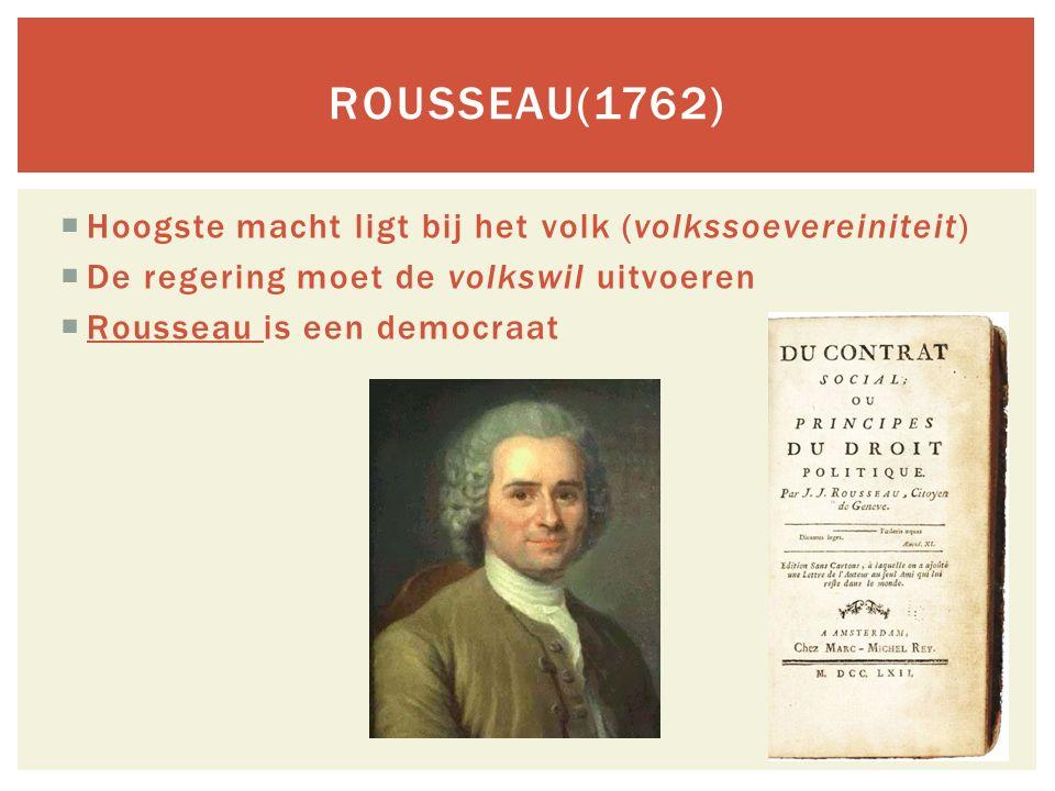 Rousseau(1762) Hoogste macht ligt bij het volk (volkssoevereiniteit)