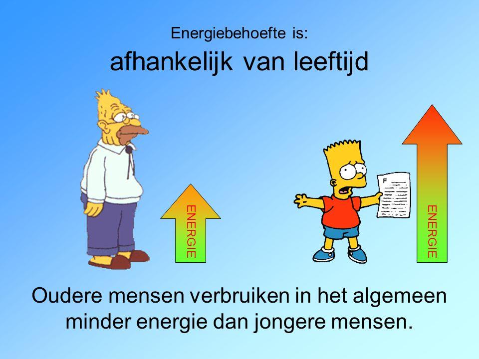 Energiebehoefte is: afhankelijk van leeftijd