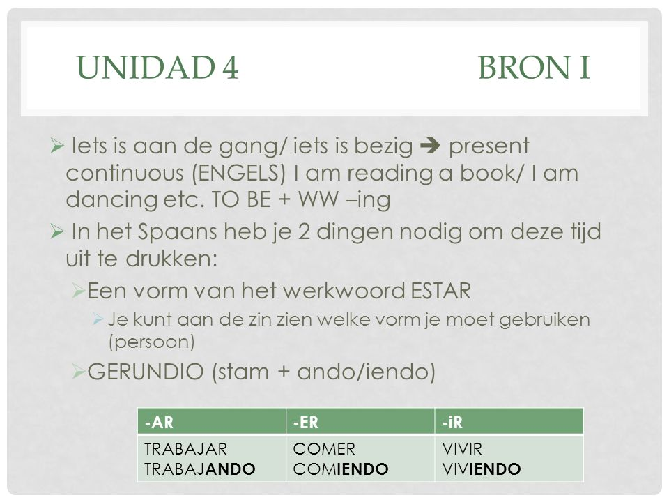 UNIDAD 4 BRON I Iets is aan de gang/ iets is bezig  present continuous (ENGELS) I am reading a book/ I am dancing etc. TO BE + WW –ing.