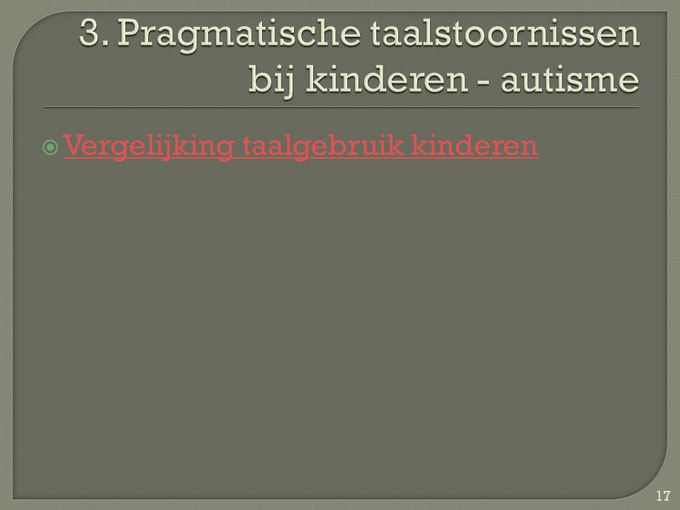 3. Pragmatische taalstoornissen bij kinderen - autisme