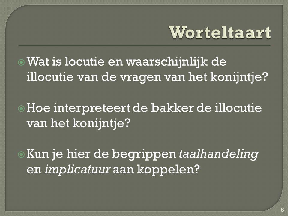 Worteltaart Wat is locutie en waarschijnlijk de illocutie van de vragen van het konijntje