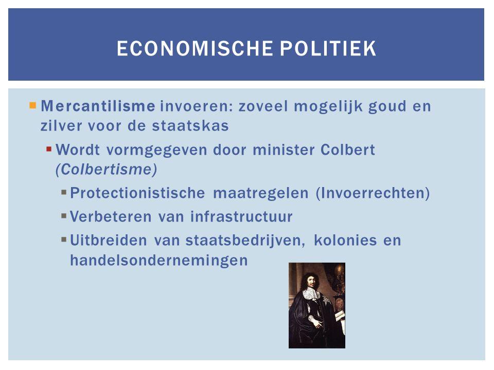 Economische politiek Mercantilisme invoeren: zoveel mogelijk goud en zilver voor de staatskas. Wordt vormgegeven door minister Colbert (Colbertisme)