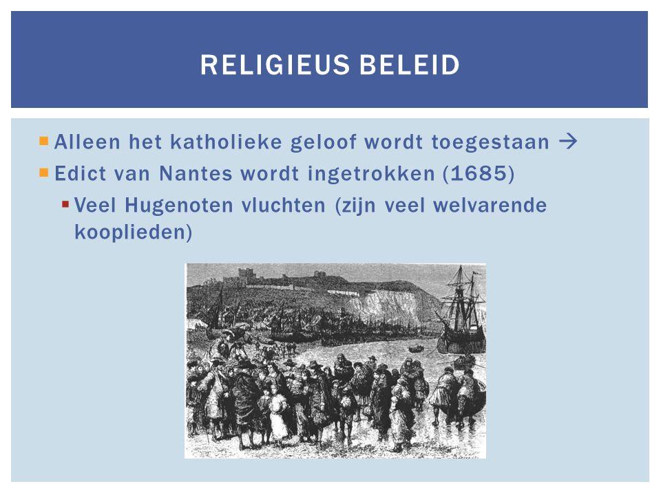 Religieus beleid Alleen het katholieke geloof wordt toegestaan 