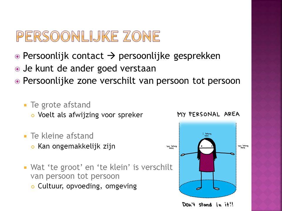 Persoonlijke zone Persoonlijk contact  persoonlijke gesprekken