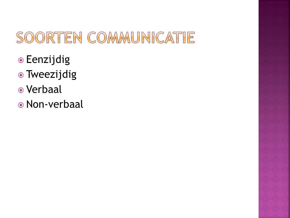 Soorten communicatie Eenzijdig Tweezijdig Verbaal Non-verbaal