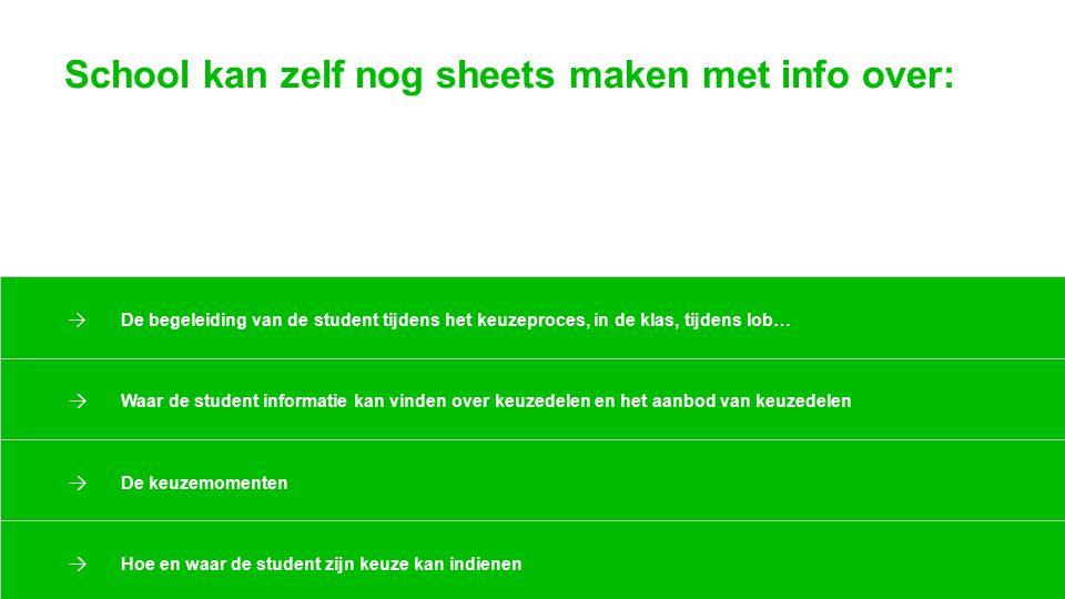 School kan zelf nog sheets maken met info over: