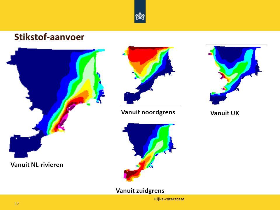Stikstof-aanvoer Vanuit noordgrens Vanuit UK Vanuit NL-rivieren