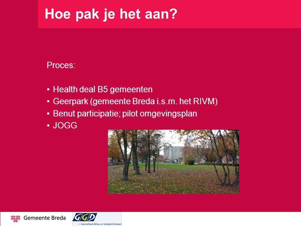 Hoe pak je het aan Proces: Health deal B5 gemeenten