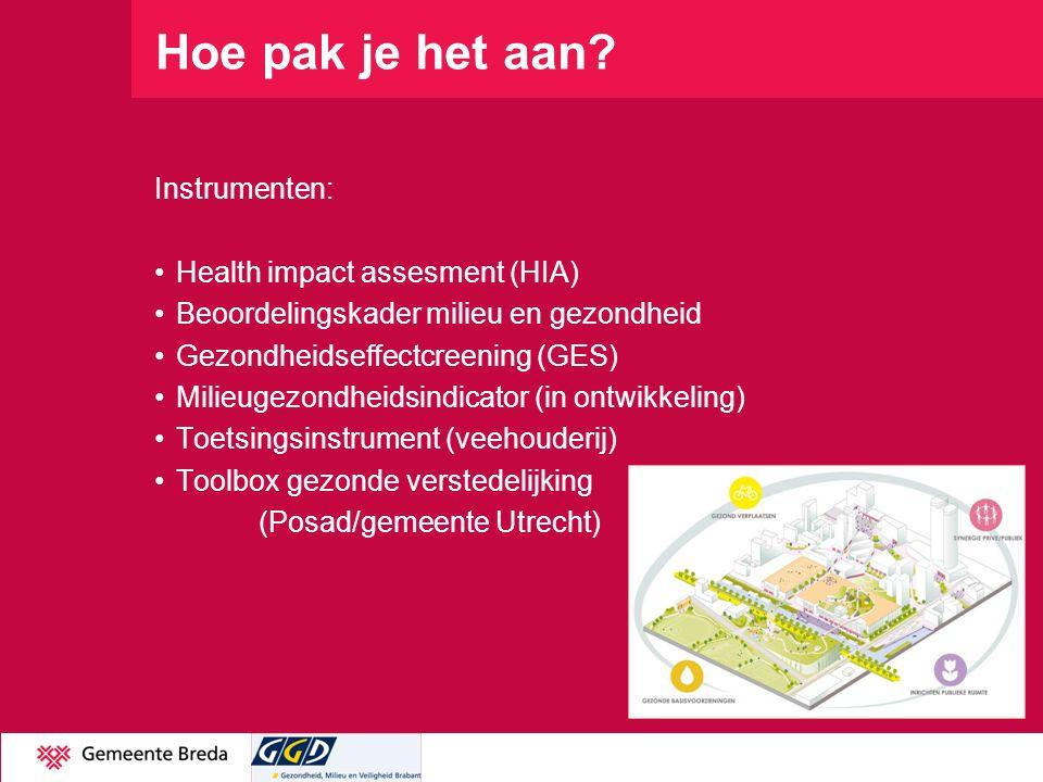 Hoe pak je het aan Instrumenten: Health impact assesment (HIA)