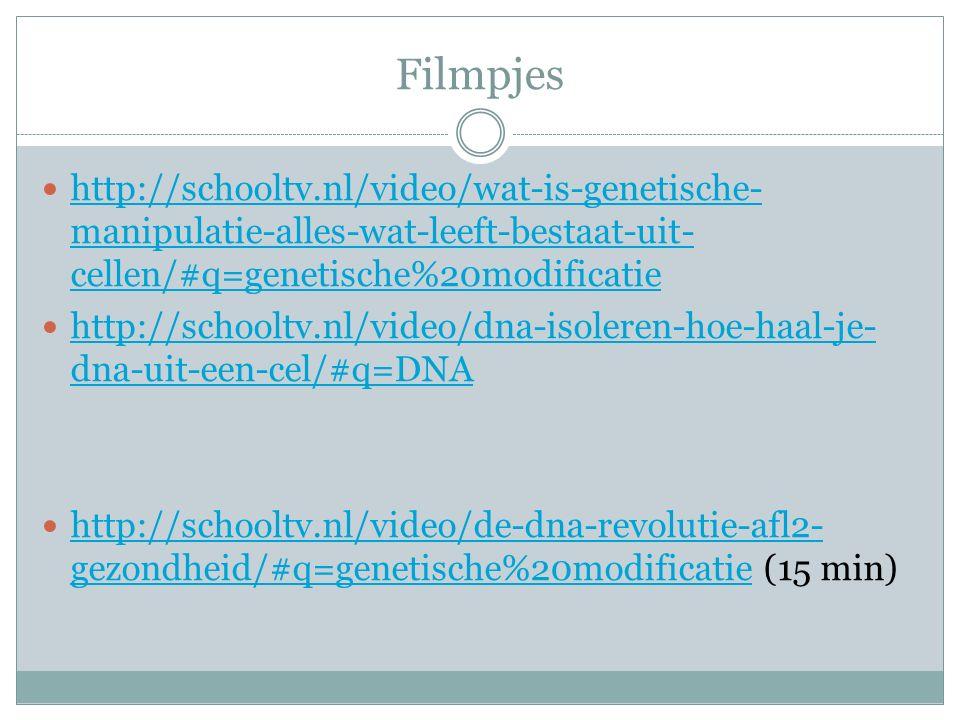 Filmpjes http://schooltv.nl/video/wat-is-genetische-manipulatie-alles-wat-leeft-bestaat-uit-cellen/#q=genetische%20modificatie.