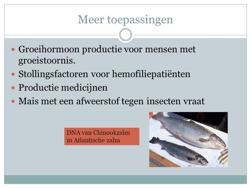 Meer toepassingen Groeihormoon productie voor mensen met groeistoornis. Stollingsfactoren voor hemofiliepatiënten.