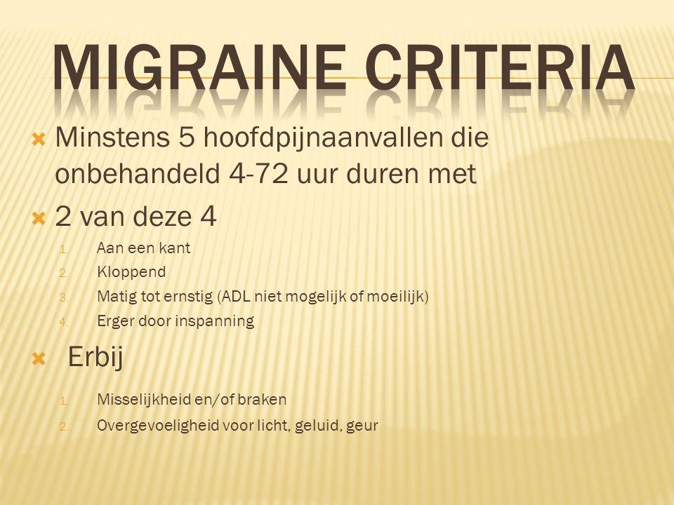 MIGRAINE Criteria Minstens 5 hoofdpijnaanvallen die onbehandeld 4-72 uur duren met. 2 van deze 4. Aan een kant.