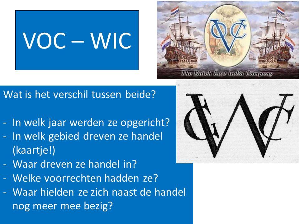 VOC – WIC Wat is het verschil tussen beide