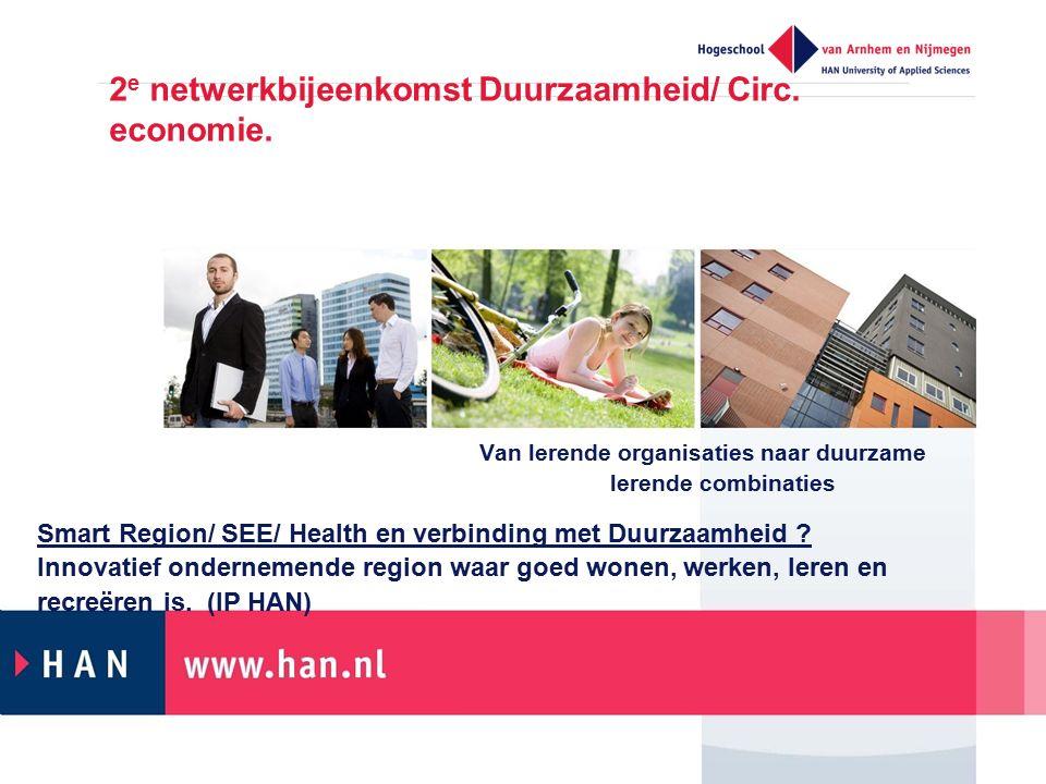 2e netwerkbijeenkomst Duurzaamheid/ Circ. economie.