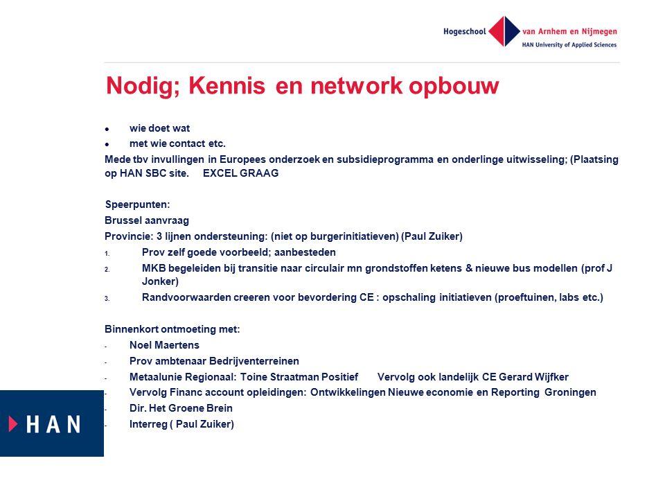 Nodig; Kennis en network opbouw