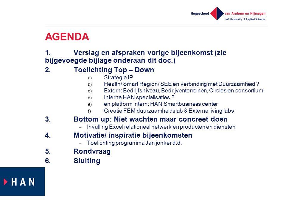 AGENDA 1. Verslag en afspraken vorige bijeenkomst (zie bijgevoegde bijlage onderaan dit doc.) 2. Toelichting Top – Down.
